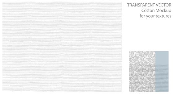 Light pattern with cotton or linen texture. Vector background for your design with transparent shadows