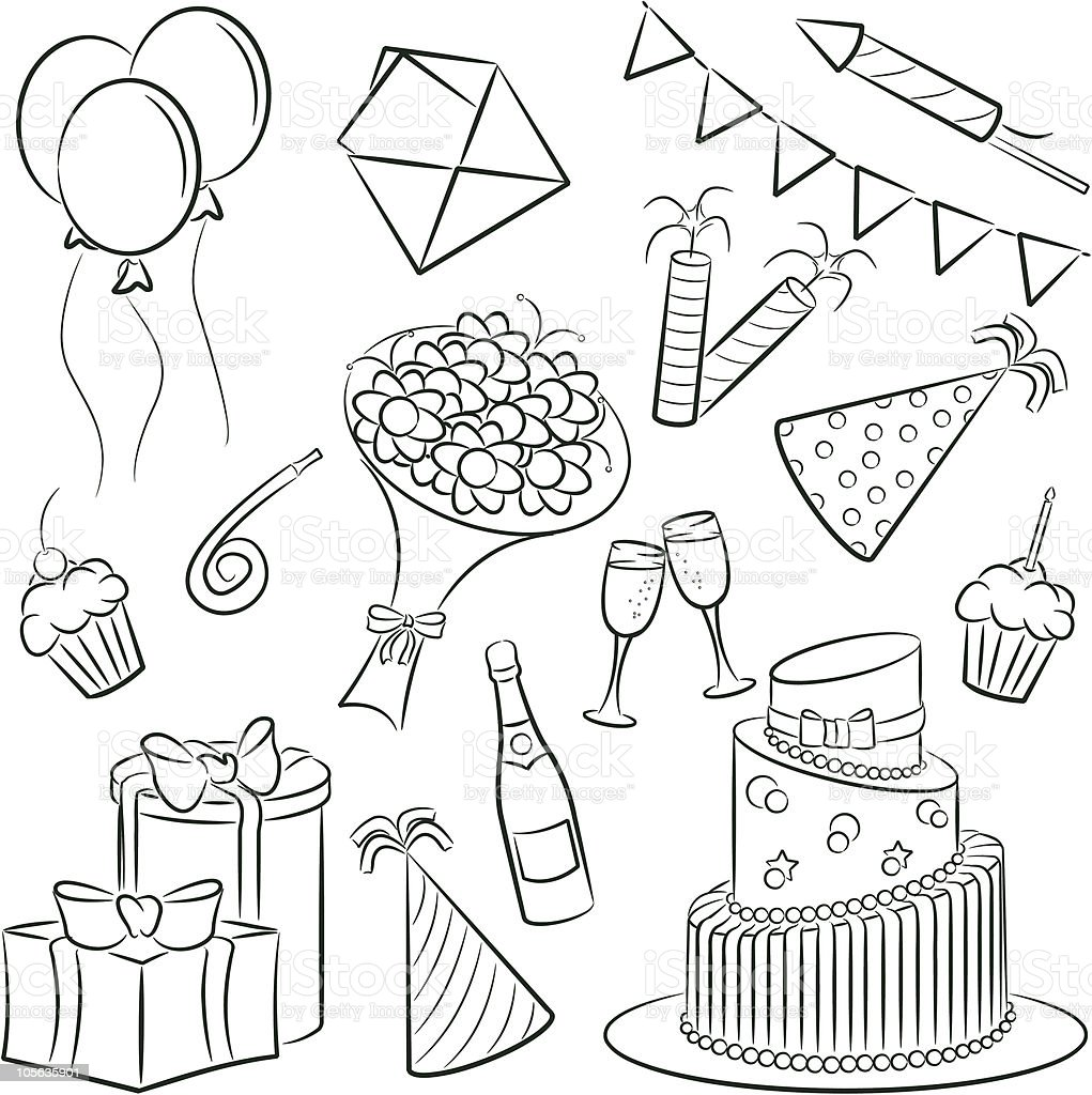 Light pencil sketches or illustrations of birthday icons royalty free light pencil sketches or illustrations