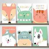 Light pink blue green collection for banners, Flyers, Placards with fox,rabbit,cat,hippopotamus and dog