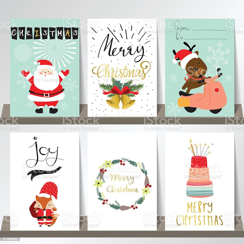 Light Pink Blue Love Christmas Greeting Card With Santa Claus Stock