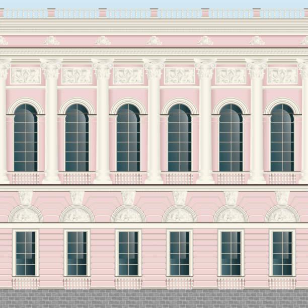 hellrosa creme fassade klassische palastwand backround nahtlos - gesims stock-grafiken, -clipart, -cartoons und -symbole