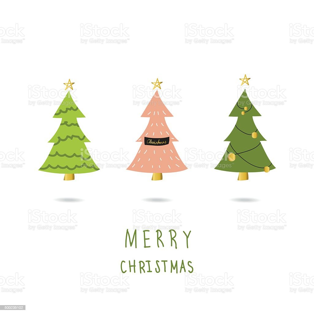 Light Pink Green Gold Christmas Tree Card With Doodle Stock Illustration Download Image Now Istock