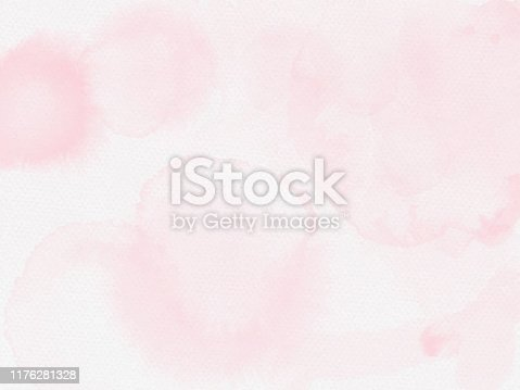 Light Pink Paper Texture Background. Border of hues of light pink paint splashing droplets. Watercolor strokes design element. Pink colored hand painted abstract texture.