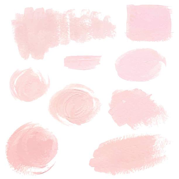 Light pink pastel acrylic brush strokes Set of light pink pastel acrylic brush strokes, delicate vector textures for business identity, decoration, wedding invitation fragility stock illustrations