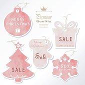Light pink pastel tag on christmas holiday