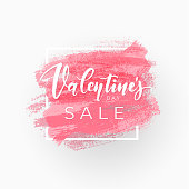 Light pink Valentine's Day sale coupon design with square frame and brush strokes. Vector illustration for banner of tag.