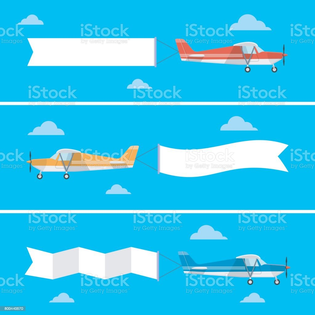 Light plane pulling a banner in a flat style. vector art illustration