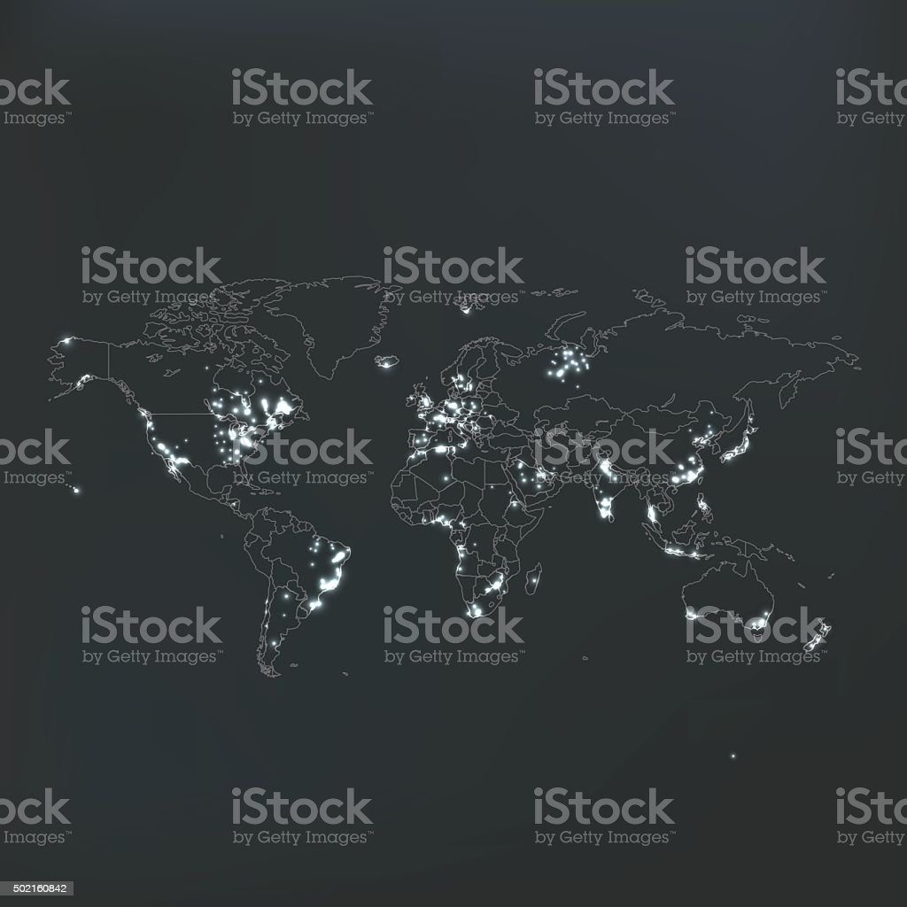 Light pollution world map with countries on dark background stock light pollution world map with countries on dark background royalty free stock vector art sciox Image collections