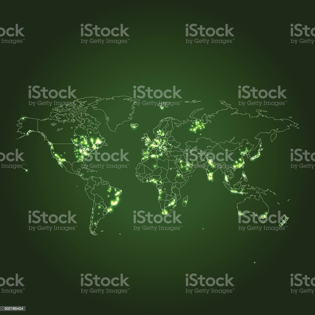 Light Pollution World Map With Countries On Green Background