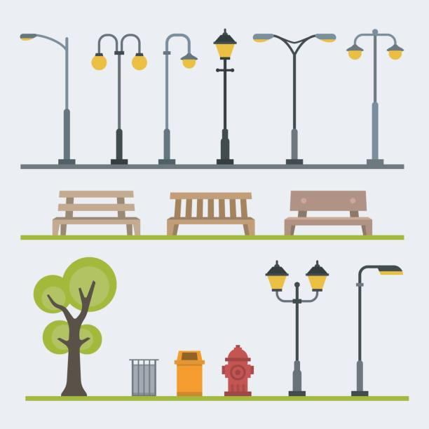 lichtmasten und outdoor-elementen für den bau von landschaften. flache vektor-illustration - citylight stock-grafiken, -clipart, -cartoons und -symbole