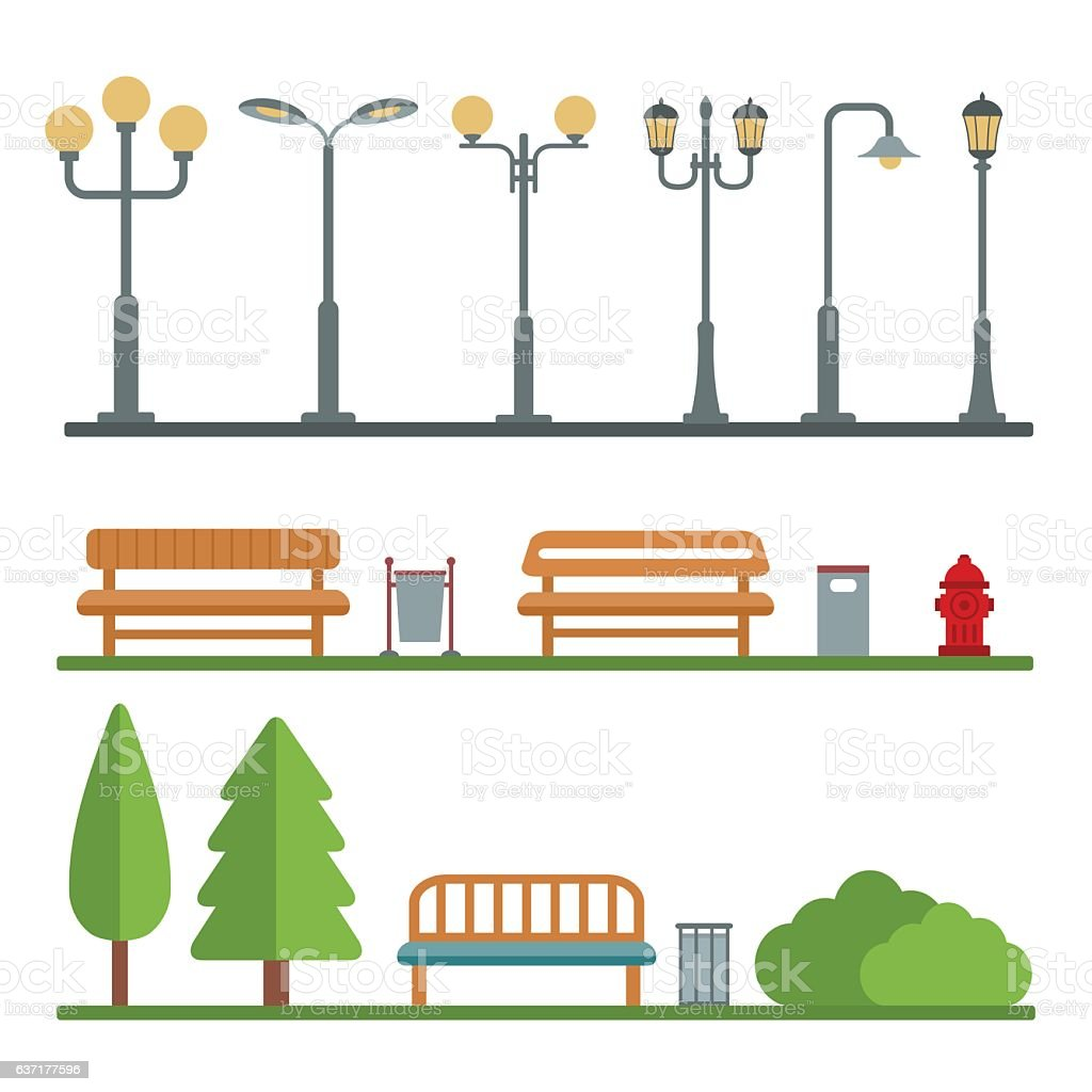 Ilustración de Postes De Luz Y Al Aire Libre Y Elementos Para ...