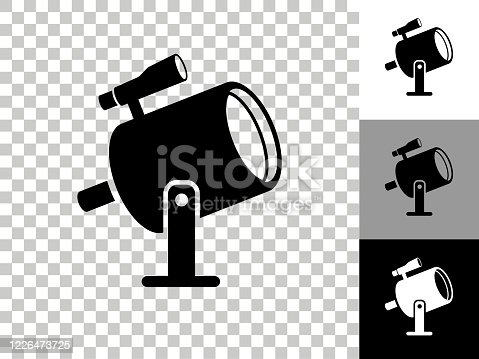 Light Projector and Finder Scope Icon on Checkerboard Transparent Background. This 100% royalty free vector illustration is featuring the icon on a checkerboard pattern transparent background. There are 3 additional color variations on the right..