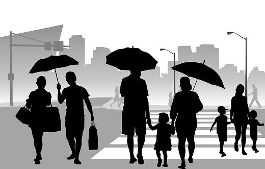 Light Rain Crosswalk Umbrellas