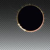 Light rays on black backdrop, abstract transparent background with glowing light effect full sun eclipse. The planet covering the Sun eclipse. Template for your cover, poster and cards.