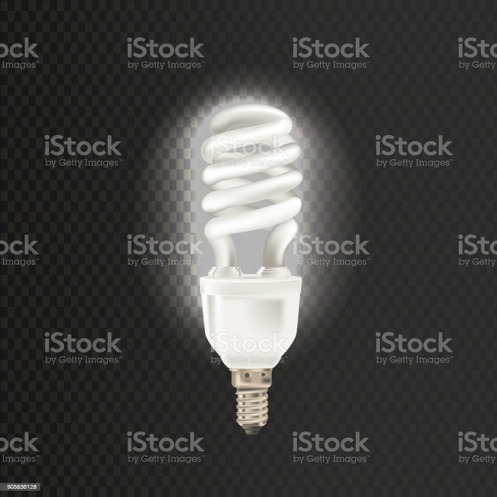Light realistic fluorescent lamp. Economical, energy-saving light bulbs vector art illustration