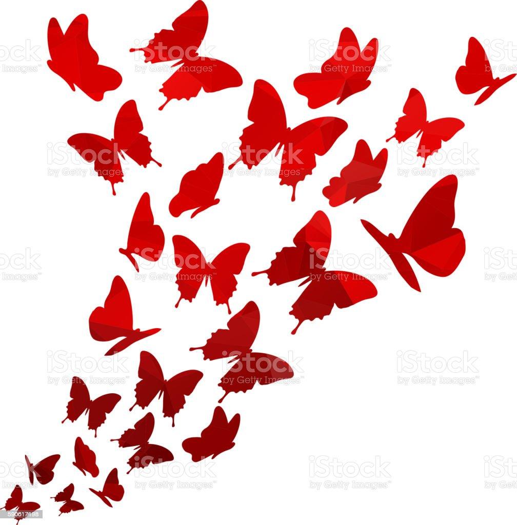 Light red triangle polygon butterflies swirl. Flying elegant butterfly pattern. ベクターアートイラスト