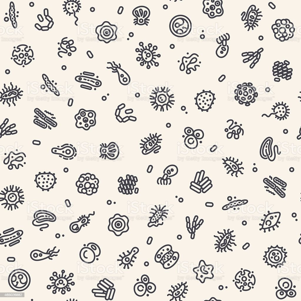 Light Seamless Pattern with Bacteria and Germs vector art illustration