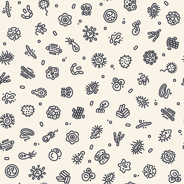 Light Seamless Pattern with Bacteria and Germs Light Seamless Pattern with Bacteria and Germs for Medical Design. Editable pattern in swatches. Clipping paths included in additional jpg format. micro organism stock illustrations