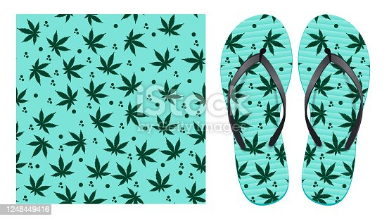istock Light seamless pattern with cannabis leaves and abstract spots. Pattern design for printing on flip-flops. Visualization of flip-flops design 1248449416