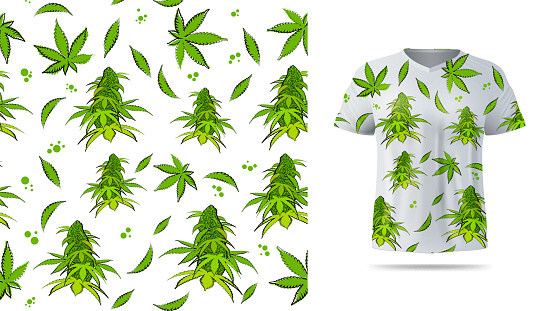 Light seamless pattern with flowers and leaves of cannabis. Eco pattern ready to print in cartoon style. Pattern design for printing on t shirt. Visualization of t shirt design