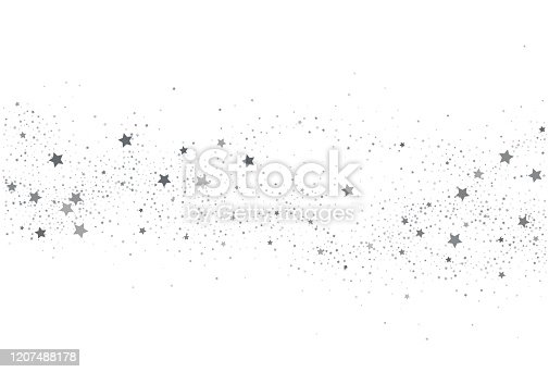 Light silver glitter confetti  background. White holiday texture. New Year and Christmas. Silver star confetti glitter backdrop. Vector elegant invitation template.