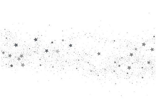 Light silver glitter confetti  background. White holiday texture. New Year and Christmas. Silver star confetti glitter backdrop. Vector elegant invitation template.