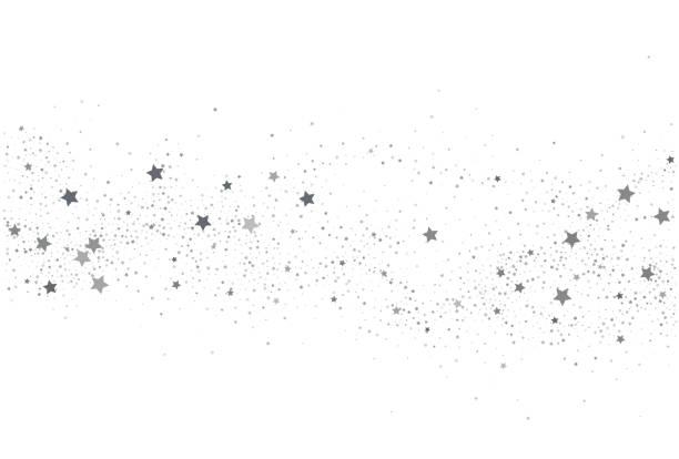 Light silver glitter confetti  background. White holiday texture Light silver glitter confetti  background. White holiday texture. New Year and Christmas. Silver star confetti glitter backdrop. Vector elegant invitation template. stars stock illustrations