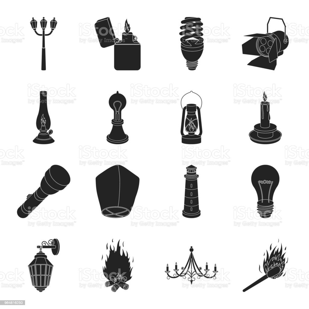 Light source black icons in set collection for design. Light and equipment vector symbol stock web illustration. royalty-free light source black icons in set collection for design light and equipment vector symbol stock web illustration stock vector art & more images of appliance