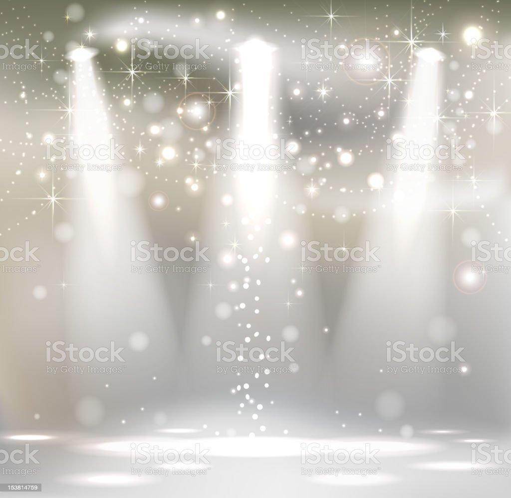 light Stage with Spotlights vector art illustration