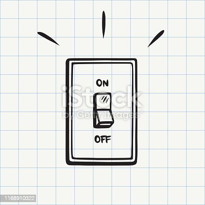 Electric switch hand drawn sketch in vector