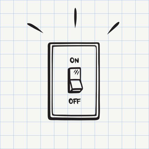ilustraciones, imágenes clip art, dibujos animados e iconos de stock de icono de garabato de interruptor de luz - interruptor