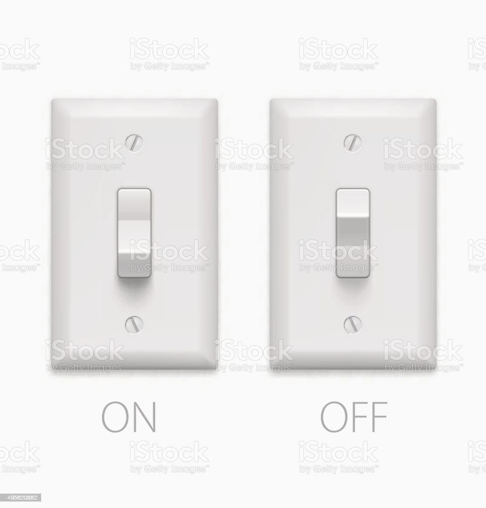 Lichtschalter Isoliert Auf Weißem Hintergrund Vektorillustration ...