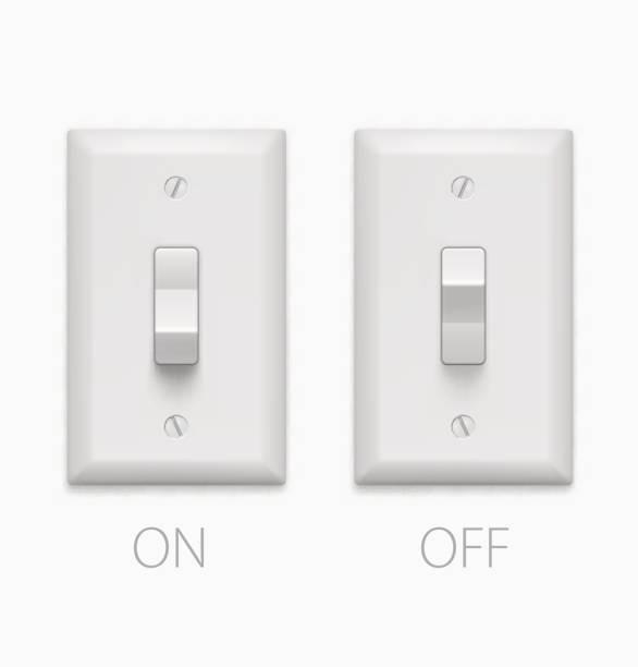 lichtschalter, isoliert auf weißem hintergrund. vektor-illustration - schalter stock-grafiken, -clipart, -cartoons und -symbole