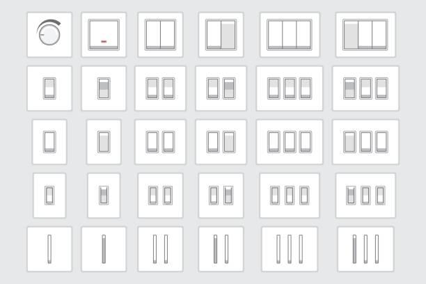light switch  - schalter stock-grafiken, -clipart, -cartoons und -symbole