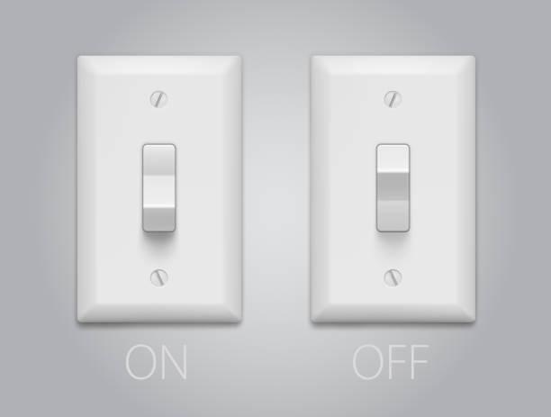 lichtschalter. - schalter stock-grafiken, -clipart, -cartoons und -symbole