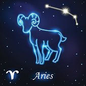 Light symbol of sheep to Aries and Ram of zodiac
