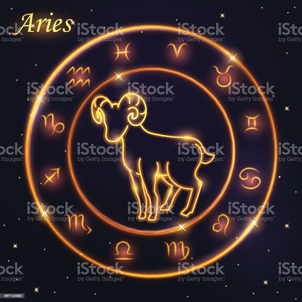 Light Symbol Of Sheep To Aries And Ram Of Zodiac Stock Vector Art