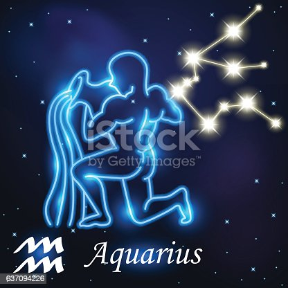 Light Symbol Of Water Carrier To Aquarius Of Zodiac