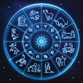 Light symbols of zodiac and horoscope circle, astrology and mystic signs, vector art and illustration.