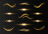 Light trails, waves, effect on transparent background. Futuristic Golden Flash. Glowing shiny spiral lines. The yellow sparks and stars shine. Magical dust particles. Vector
