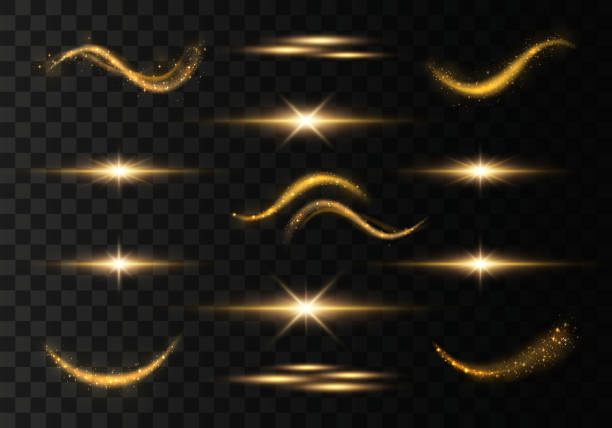 Light trails wave Light trails, waves, effect on transparent background. Futuristic Golden Flash. Glowing shiny spiral lines. The yellow sparks and stars shine. Magical dust particles. Vector light natural phenomenon stock illustrations