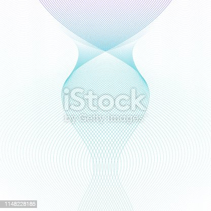 Light turquoise, purple guilloche pattern. Symmetric shape, crisscross curves. Ripple subtle lines. Vector abstract background. Template for watermark, money, banknote, diploma, certificate. EPS10 illustration