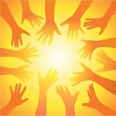 Concept-hands reach for light
