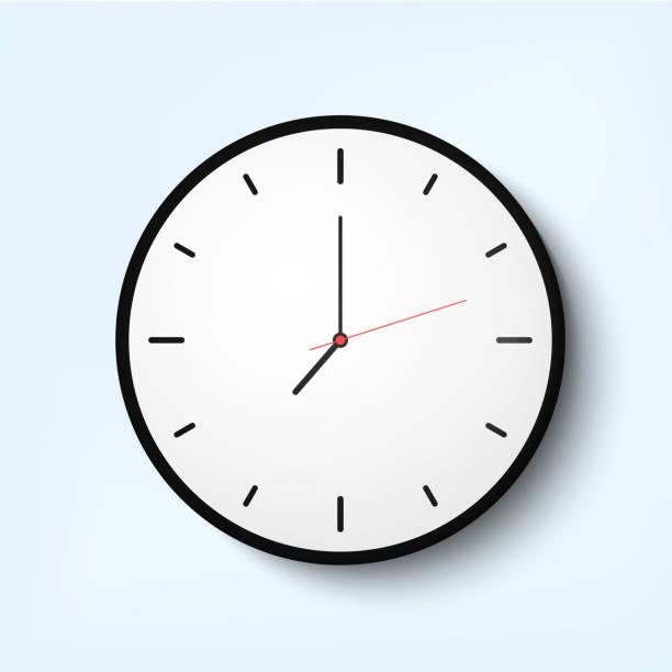 Light wall clock Light wall clock with thin time arrows wall clock stock illustrations