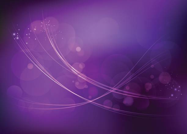 Light wave curves on dark purple space background vector art illustration