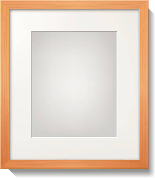 A light wood frame with a white mat  vector art illustration