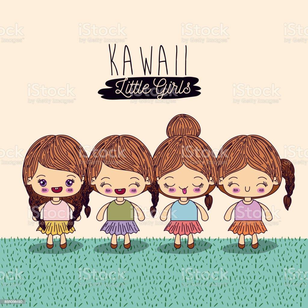 明るい黄色の背景設定 4 かわいい全身カワイイ女の子 4人のベクター