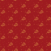 Light Yellow Pizza Pattern on Red Background for Pizzeria Restaurant