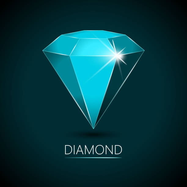 leichte blaue farbige glitzernden diamanten - clipart goldene hochzeit stock-grafiken, -clipart, -cartoons und -symbole