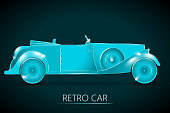 Light-Blue Colored Sparkling Retro Car